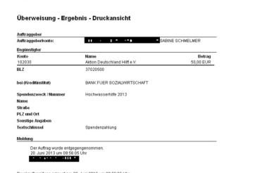 Spende und Verlosung für die Aktion Deutschland hilft
