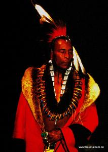 Indianer in der Tracht eines Medizinmannes