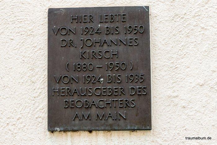 Gedenktagel von dr. johannes kirsch aschaffenburg