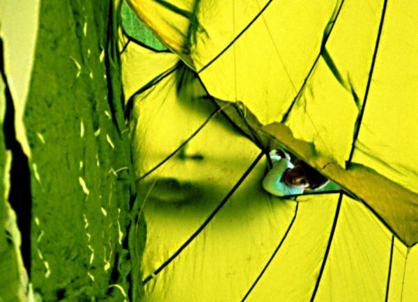 Gesicht gelb grün Stoff farbrausch